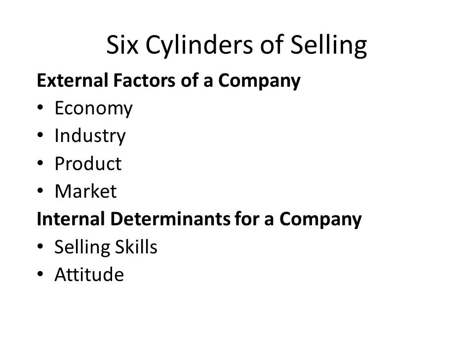Six Cylinders of Selling