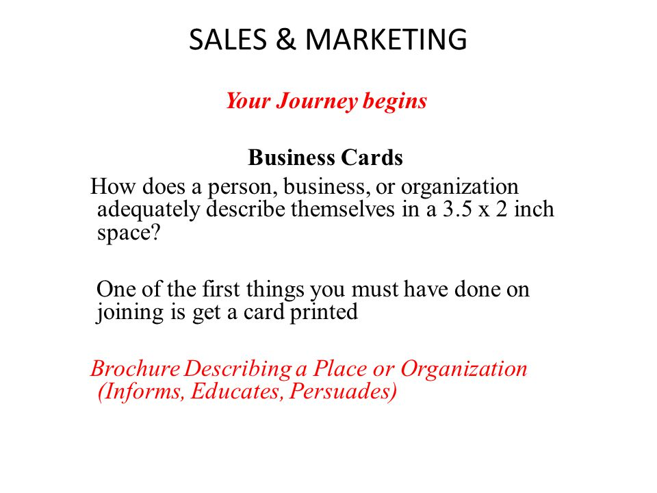 SALES & MARKETING Your Journey begins Business Cards