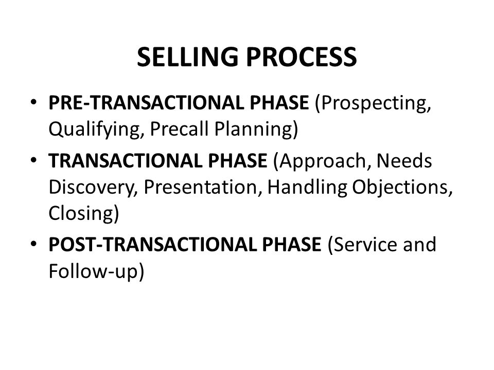 SELLING PROCESS PRE-TRANSACTIONAL PHASE (Prospecting, Qualifying, Precall Planning)