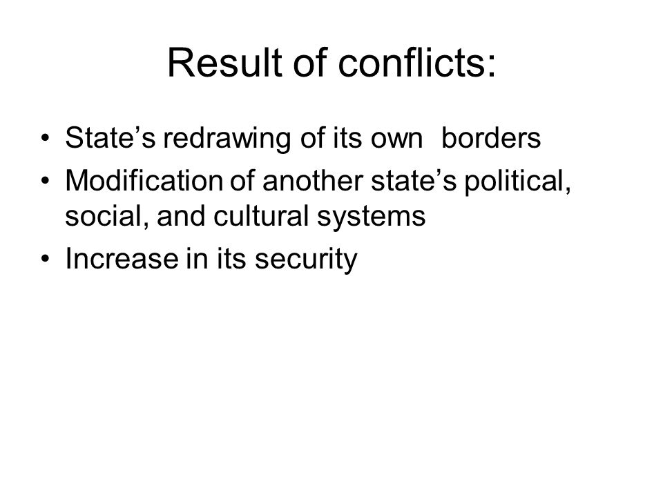 Result of conflicts: State's redrawing of its own borders
