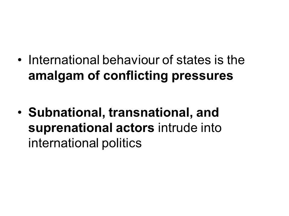 International behaviour of states is the amalgam of conflicting pressures