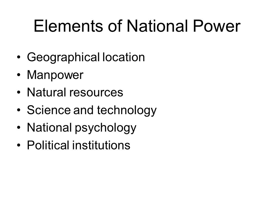 Elements of National Power
