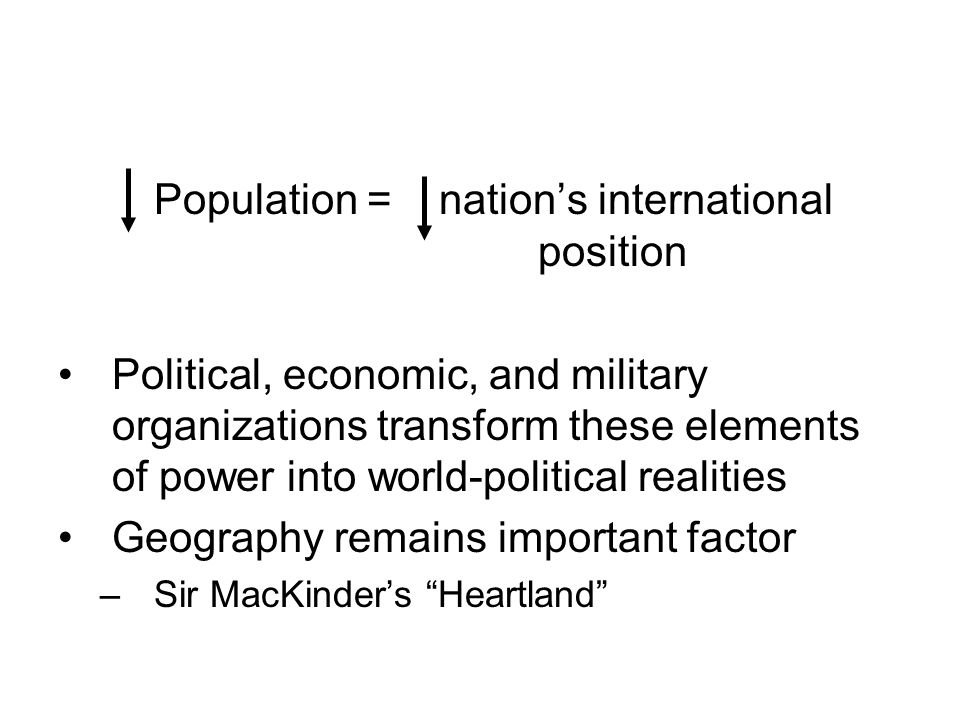 Population = nation's international position
