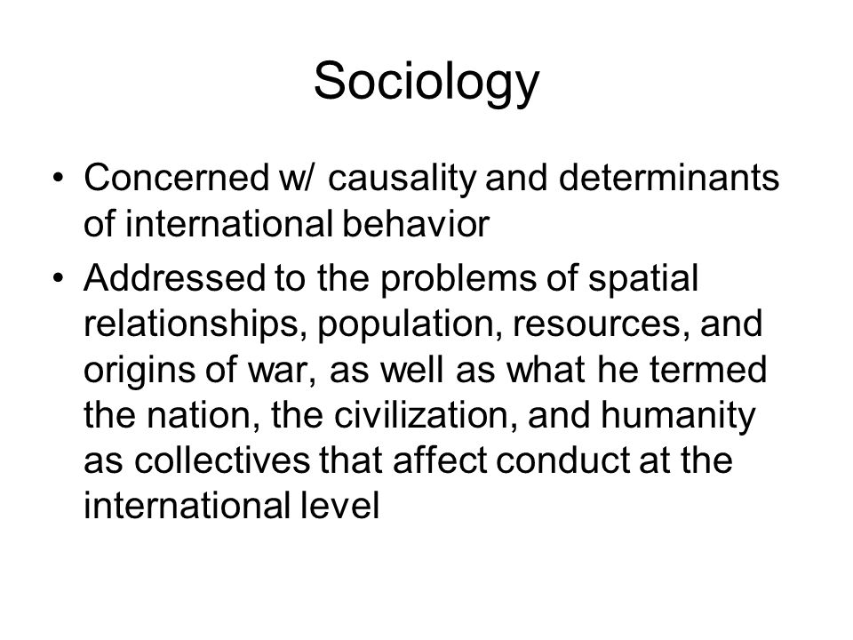 Sociology Concerned w/ causality and determinants of international behavior.