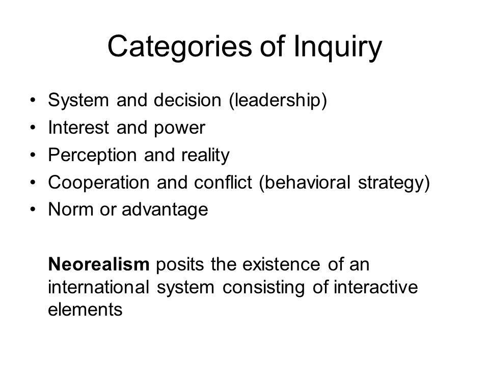 Categories of Inquiry System and decision (leadership)