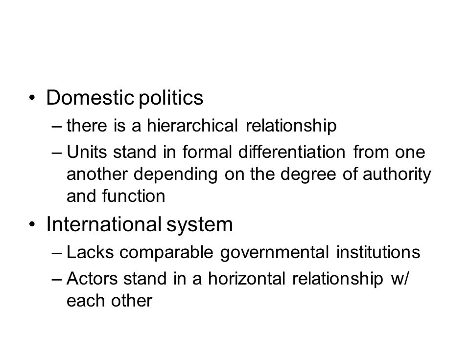 Domestic politics International system