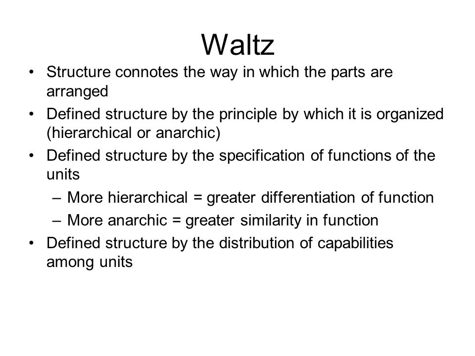 Waltz Structure connotes the way in which the parts are arranged