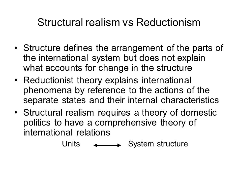 Structural realism vs Reductionism