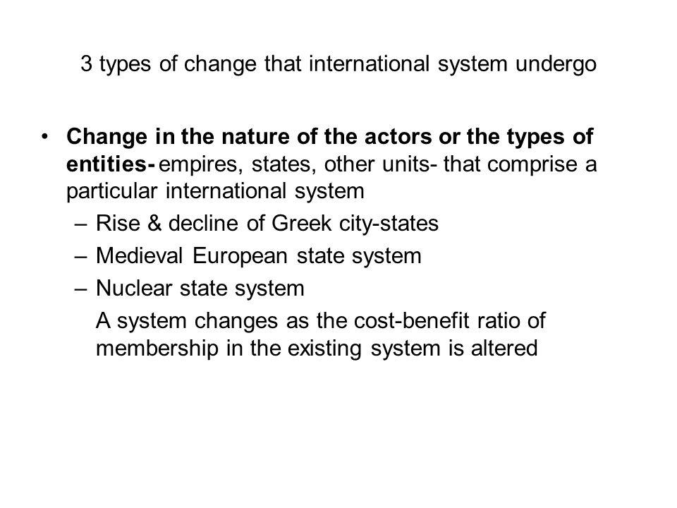 3 types of change that international system undergo