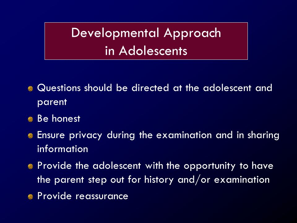 Developmental Approach in Adolescents