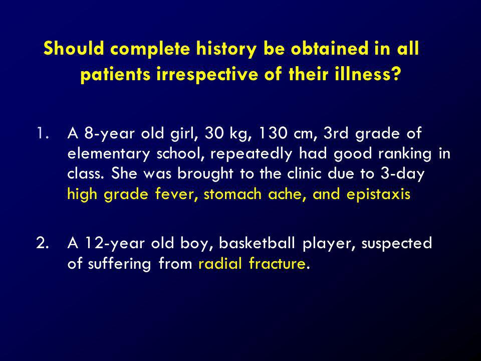 Should complete history be obtained in all patients irrespective of their illness