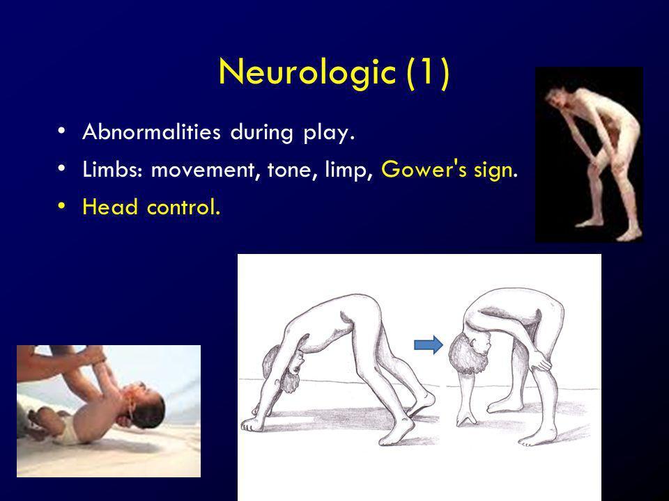 Neurologic (1) Abnormalities during play.