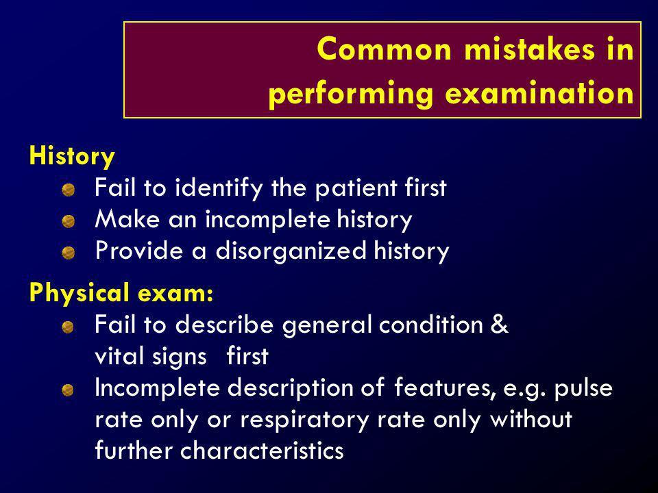 performing examination