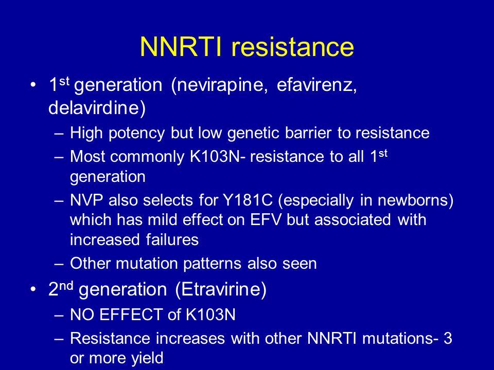 NNRTI resistance 1st generation (nevirapine, efavirenz, delavirdine)