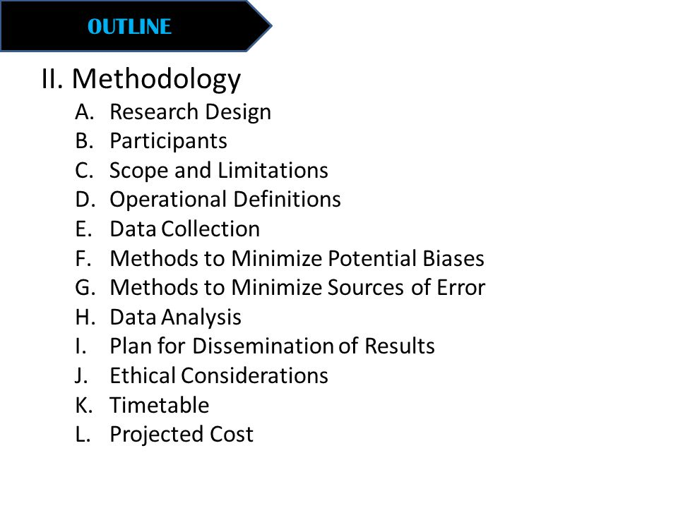 II. Methodology Research Design Participants Scope and Limitations