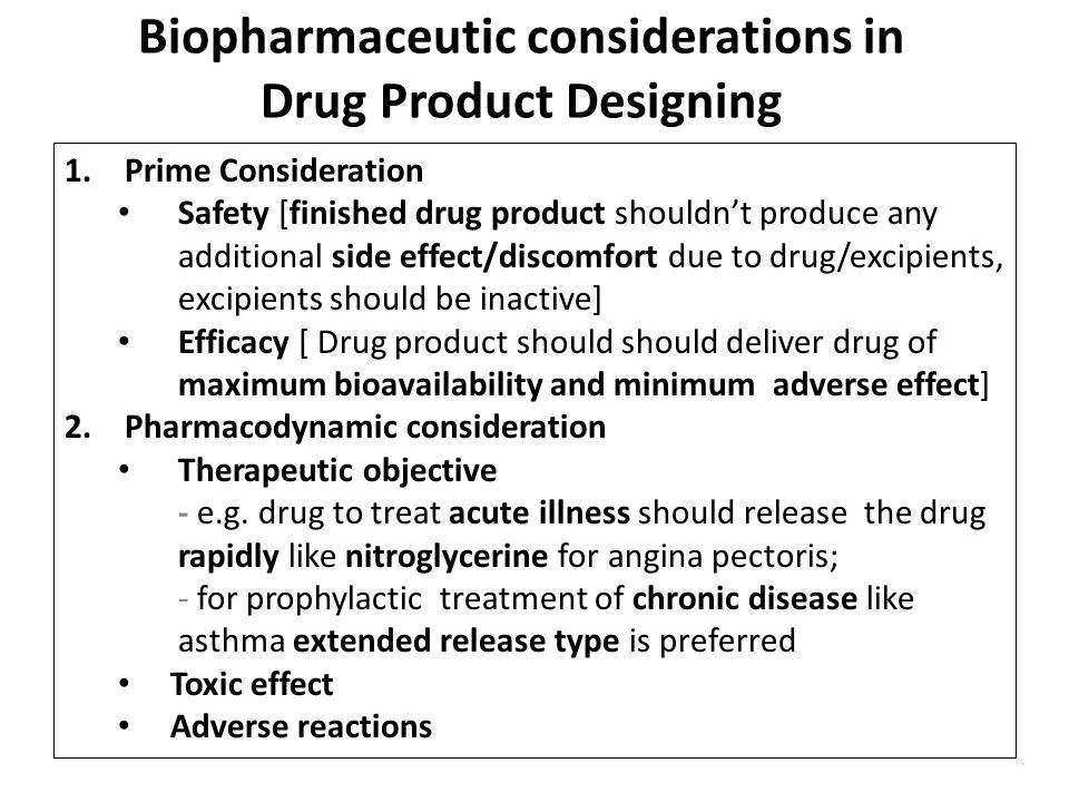 Biopharmaceutic considerations in Drug Product Designing
