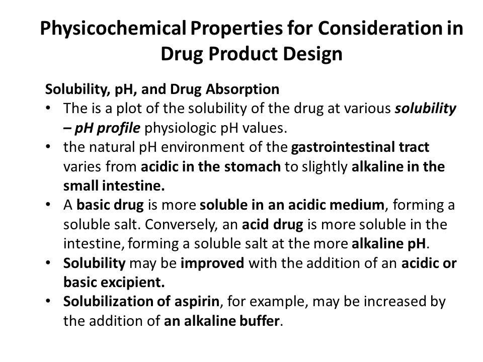 Physicochemical Properties for Consideration in Drug Product Design
