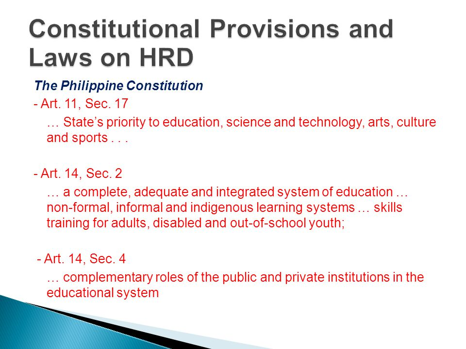 Constitutional Provisions and Laws on HRD