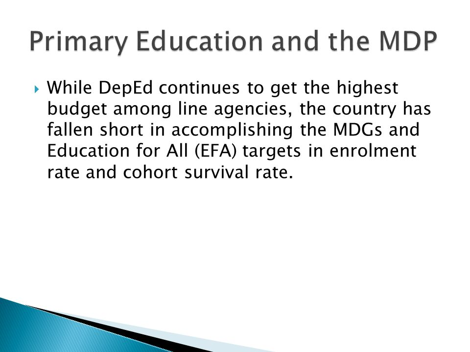 Primary Education and the MDP