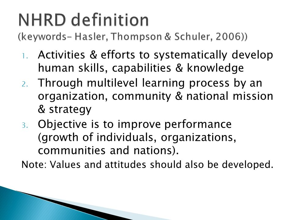 NHRD definition (keywords- Hasler, Thompson & Schuler, 2006))