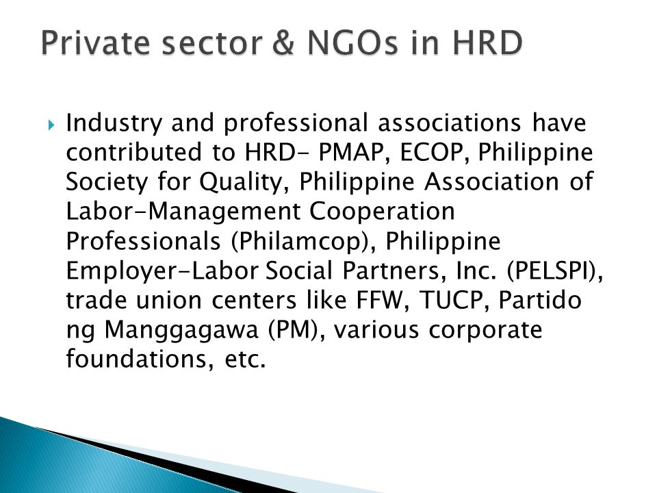 Private sector & NGOs in HRD