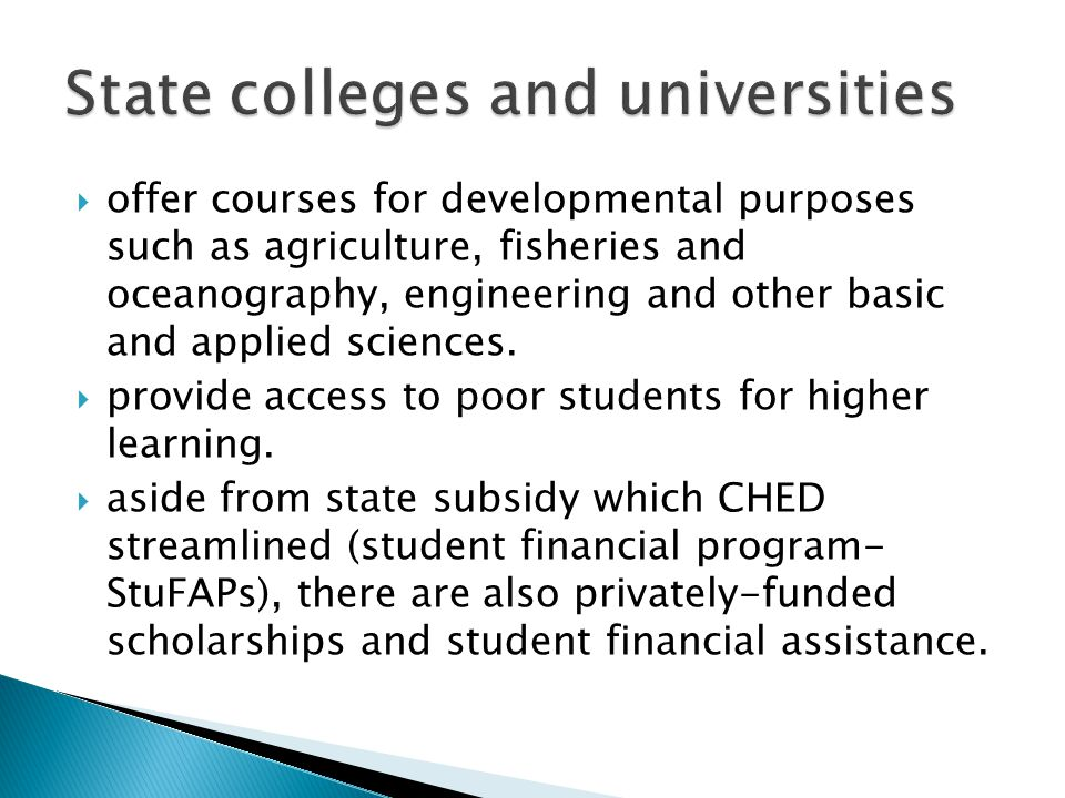 State colleges and universities