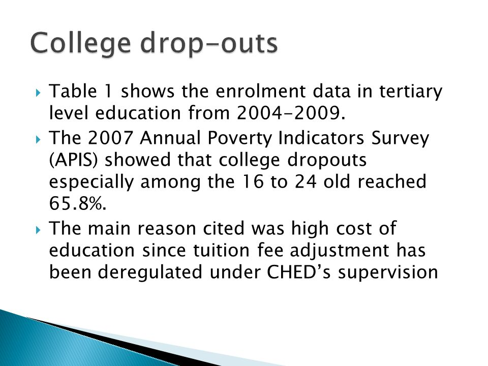 College drop-outs Table 1 shows the enrolment data in tertiary level education from 2004-2009.