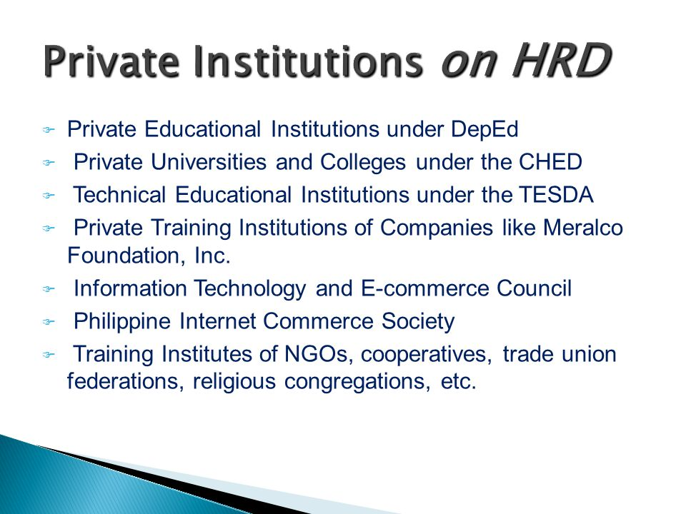 Private Institutions on HRD