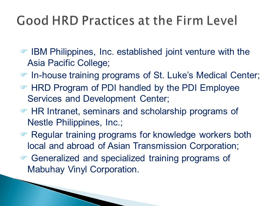 Good HRD Practices at the Firm Level