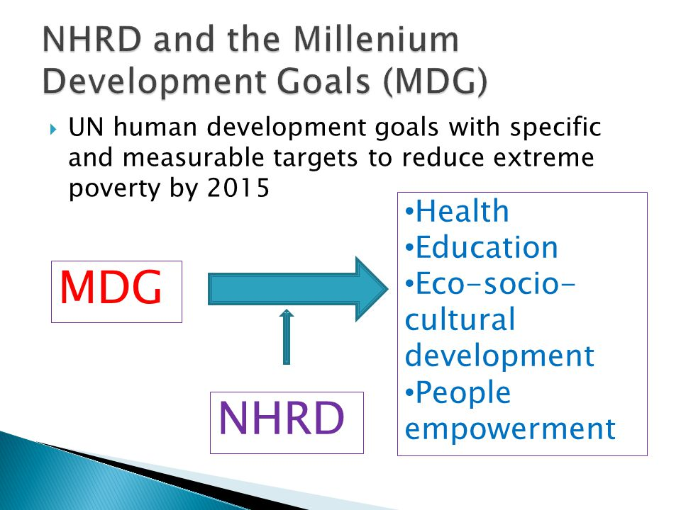 NHRD and the Millenium Development Goals (MDG)