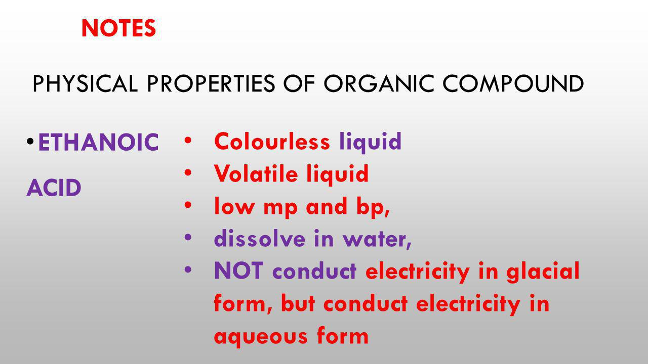 Physical properties of organic compound