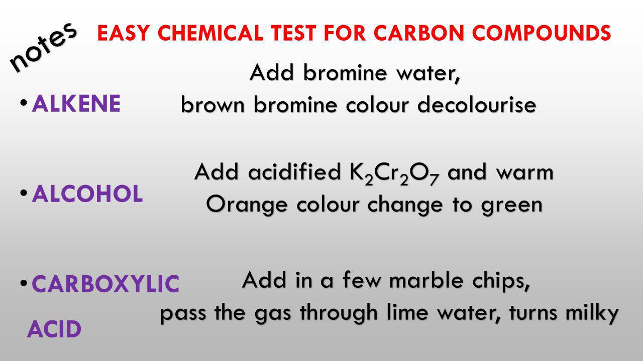 Easy chemical test for carbon compounds