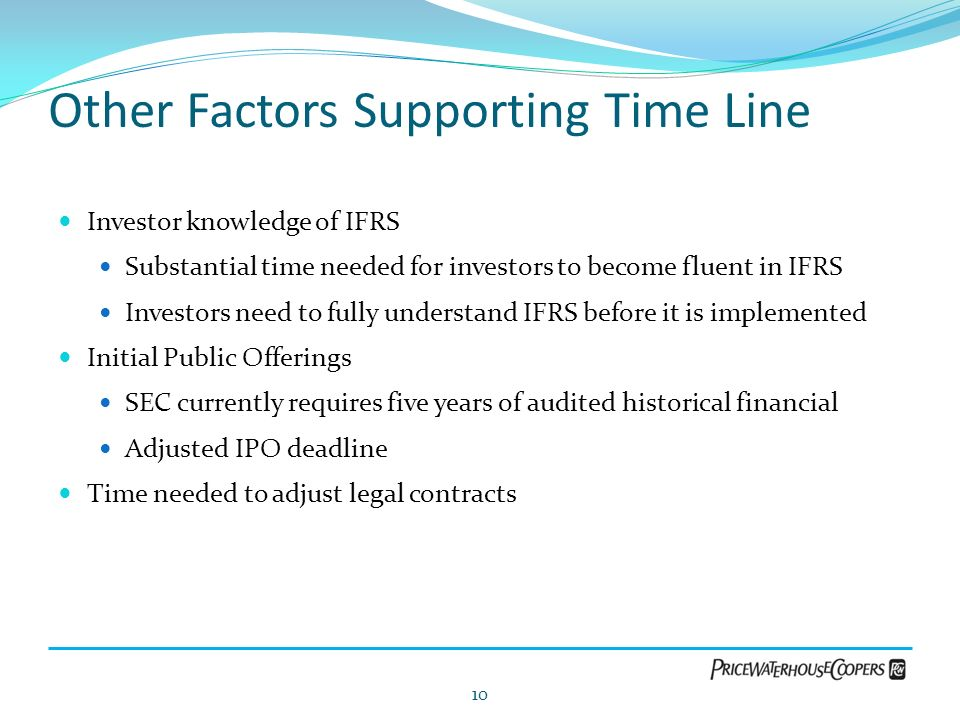 Other Factors Supporting Time Line