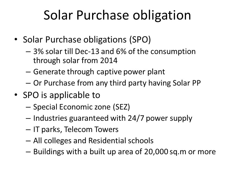 Solar Purchase obligation