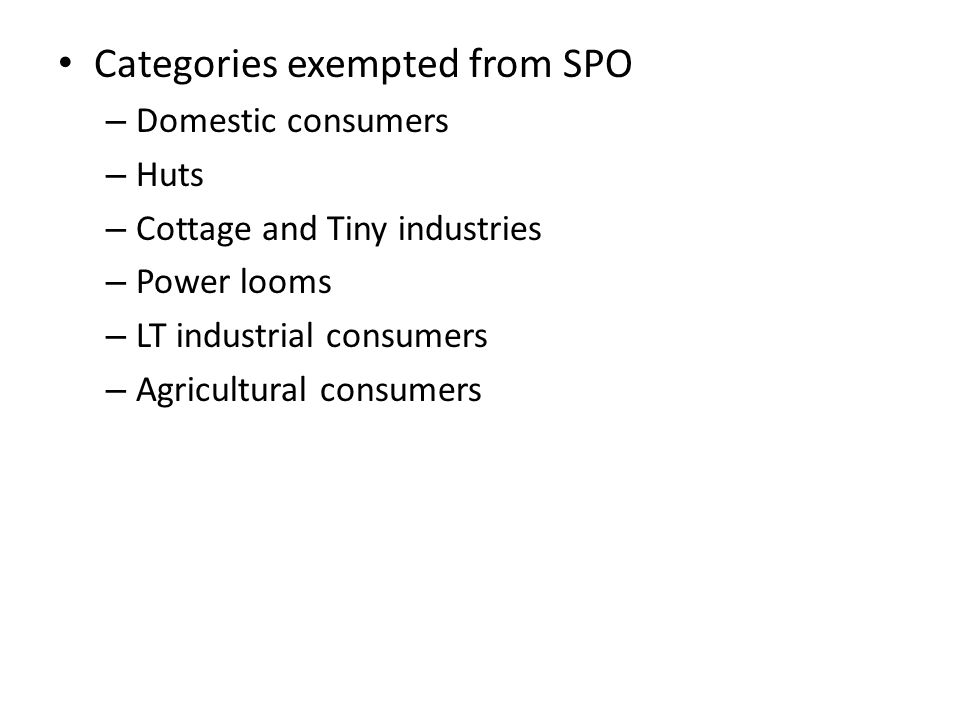 Categories exempted from SPO