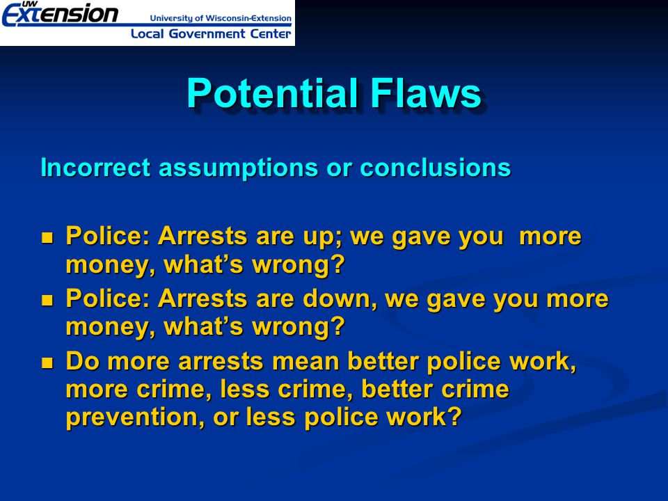 Potential Flaws Incorrect assumptions or conclusions