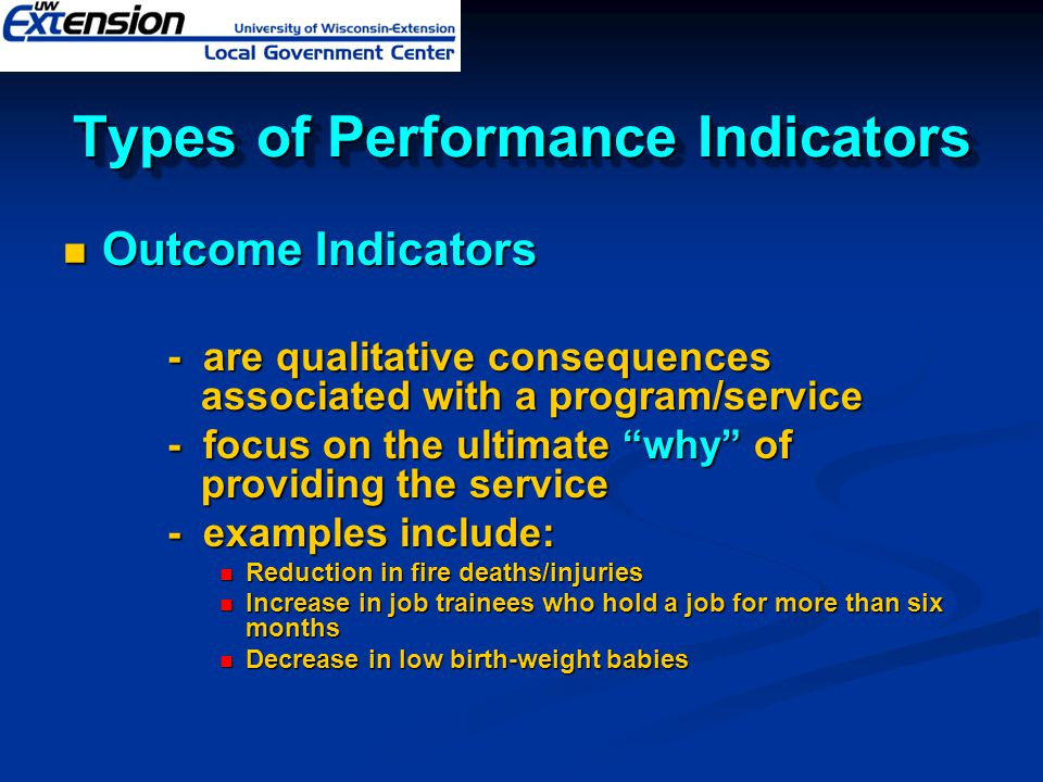 Types of Performance Indicators