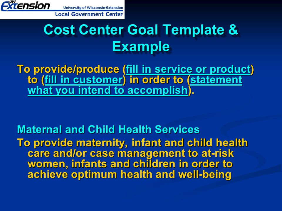 Cost Center Goal Template & Example