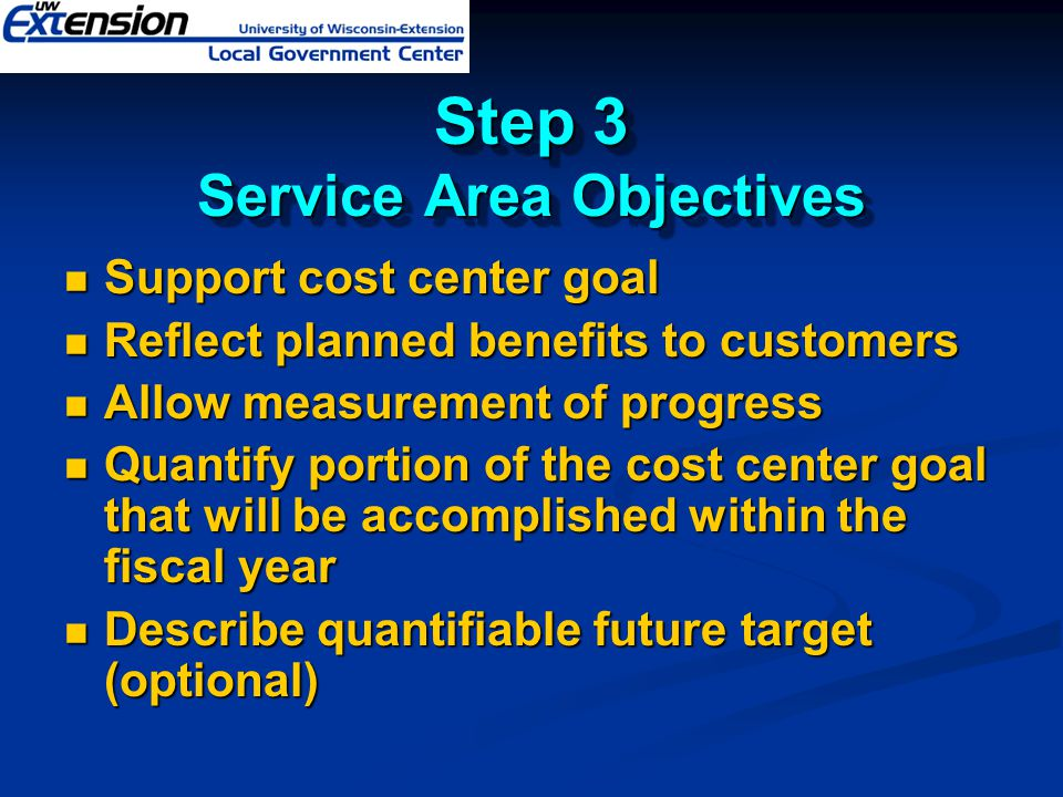Step 3 Service Area Objectives