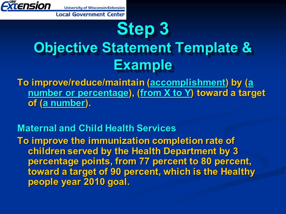 Step 3 Objective Statement Template & Example