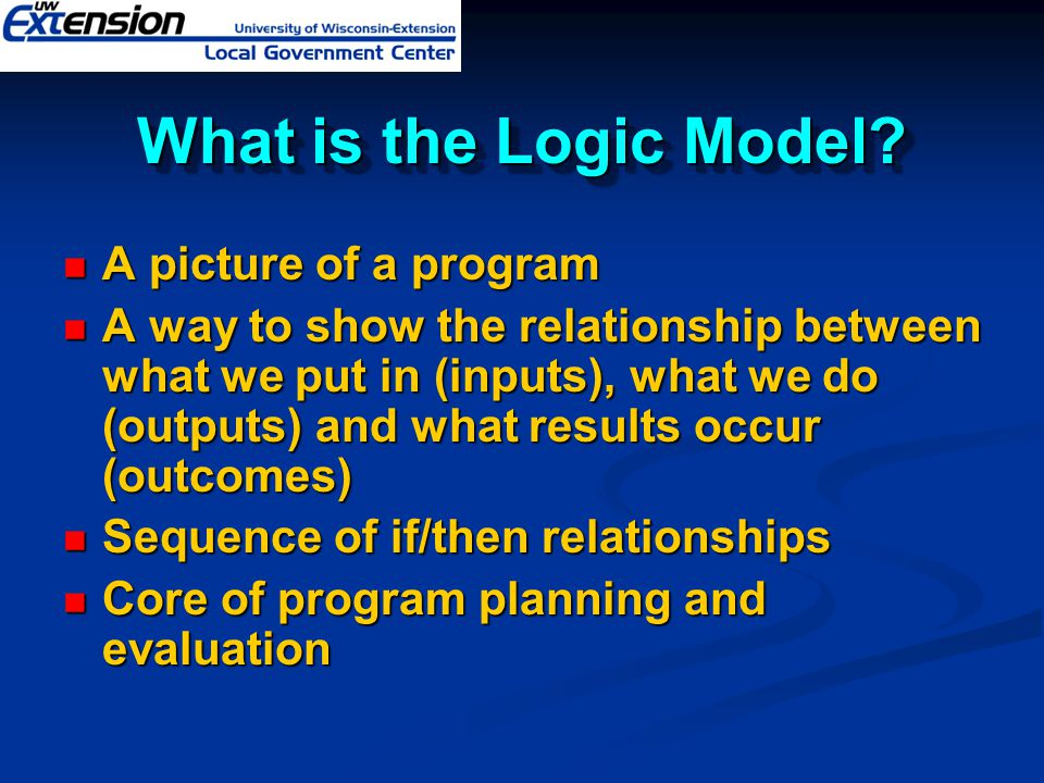 What is the Logic Model A picture of a program