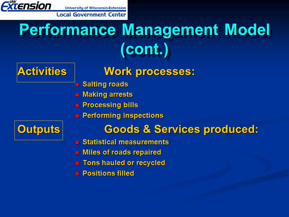 Performance Management Model (cont.)