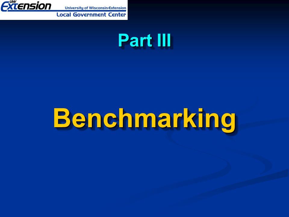 Part III Benchmarking