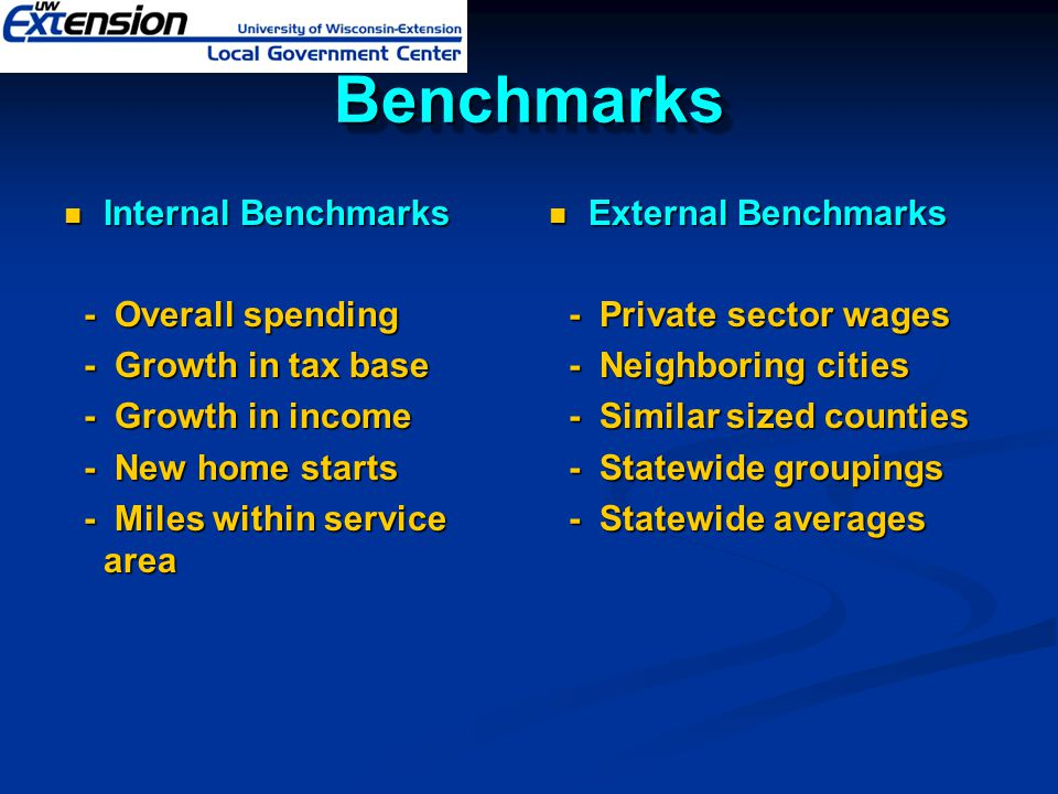 Benchmarks Internal Benchmarks - Overall spending - Growth in tax base