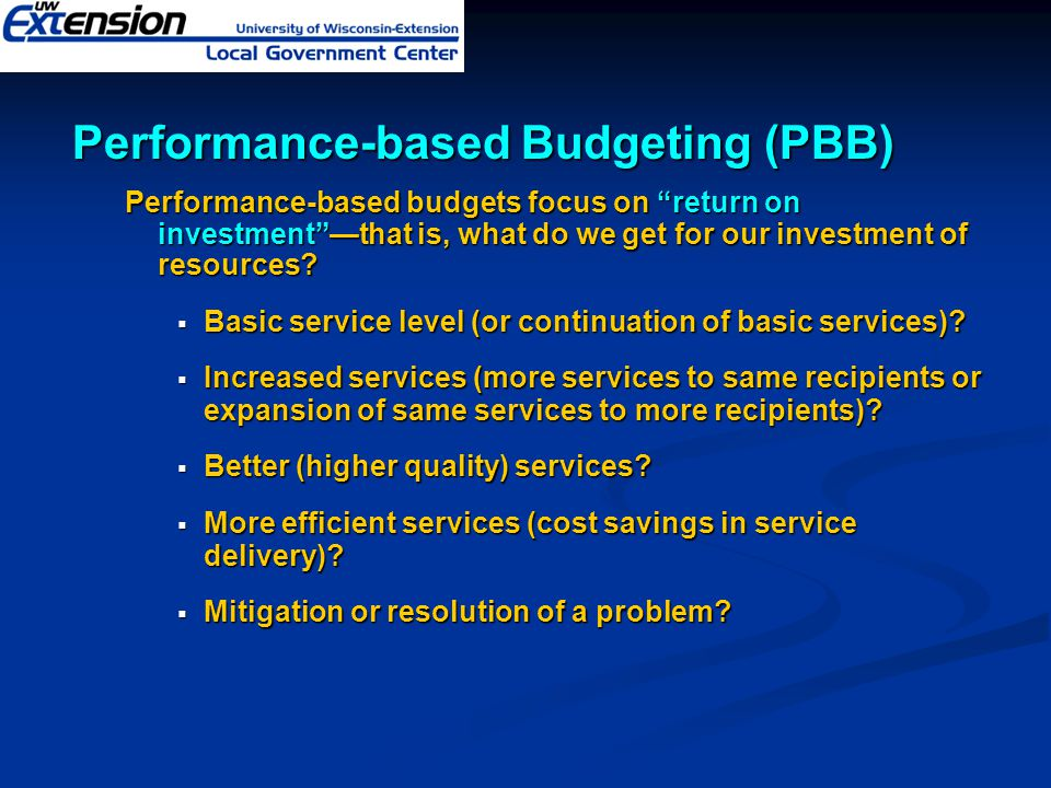 Performance-based Budgeting (PBB)