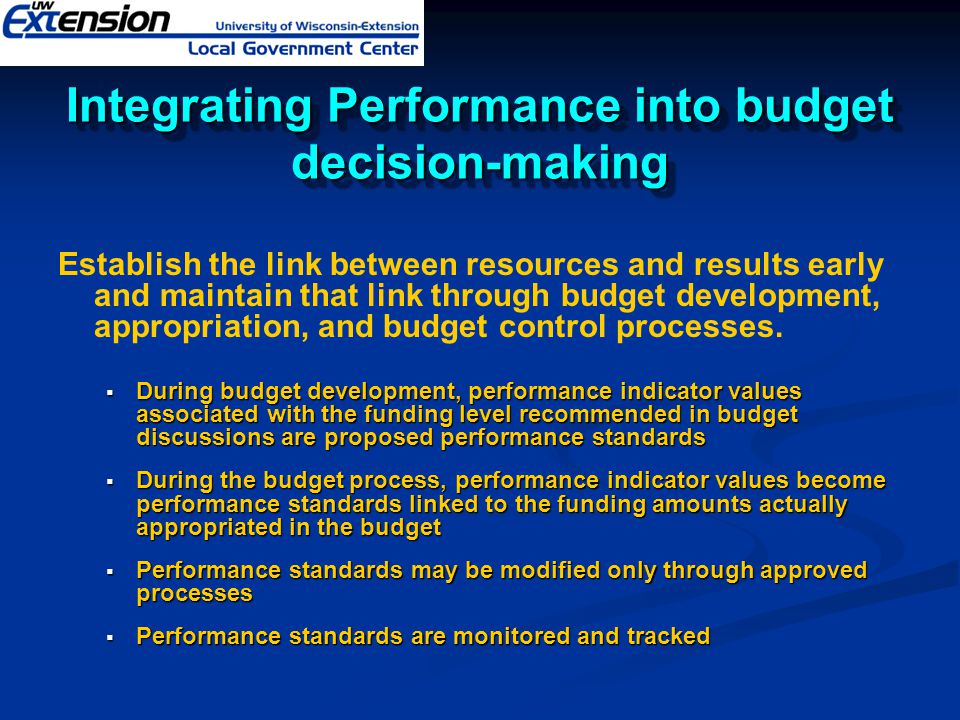 Integrating Performance into budget decision-making