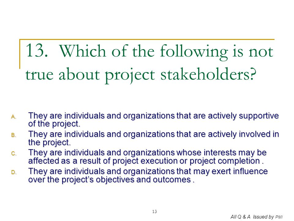 13. Which of the following is not true about project stakeholders