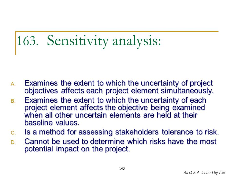 163. Sensitivity analysis: