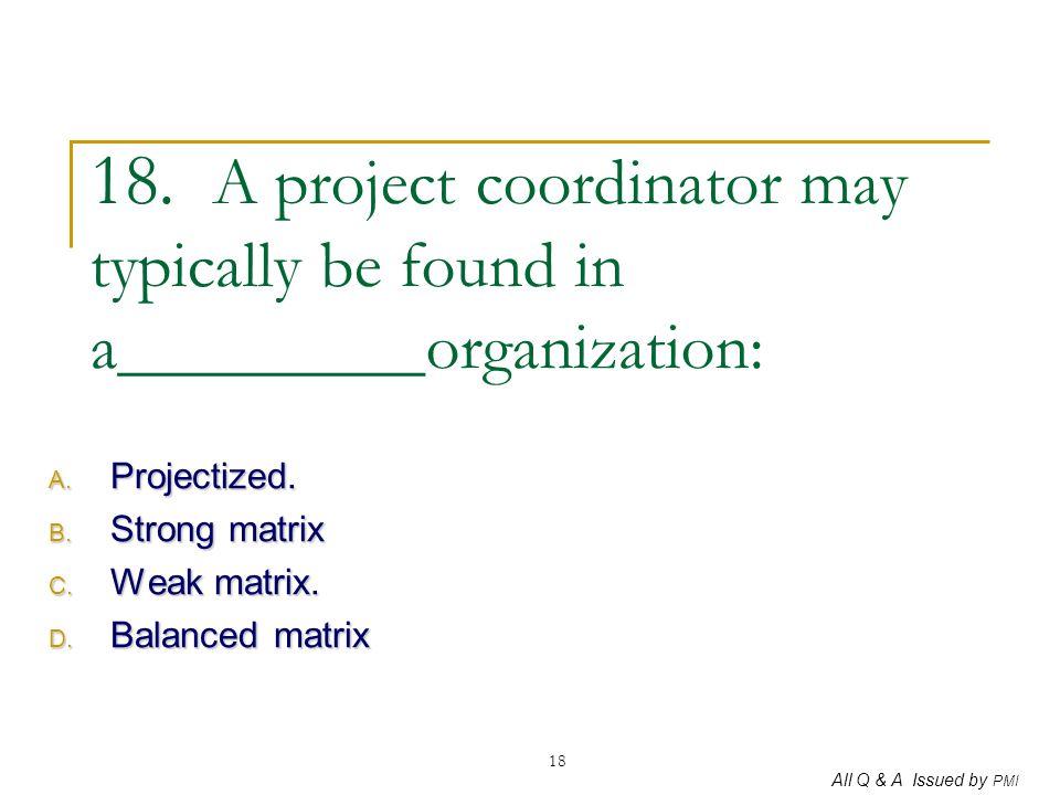 Projectized. Strong matrix Weak matrix. Balanced matrix