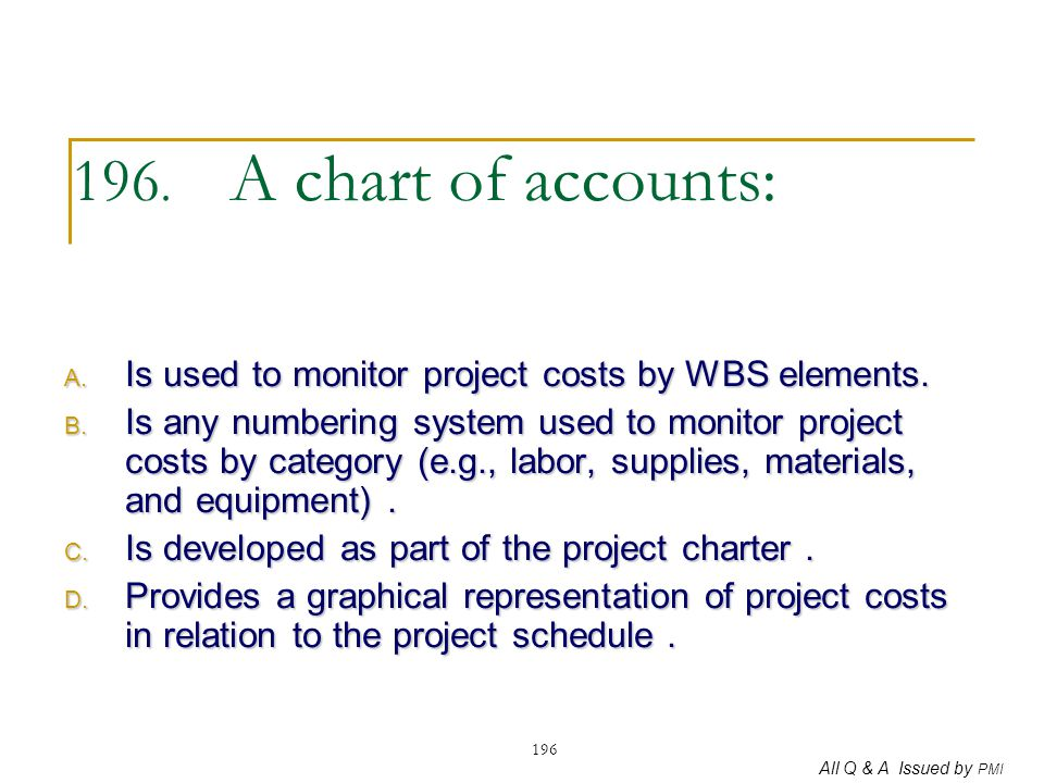 196. A chart of accounts: Is used to monitor project costs by WBS elements.